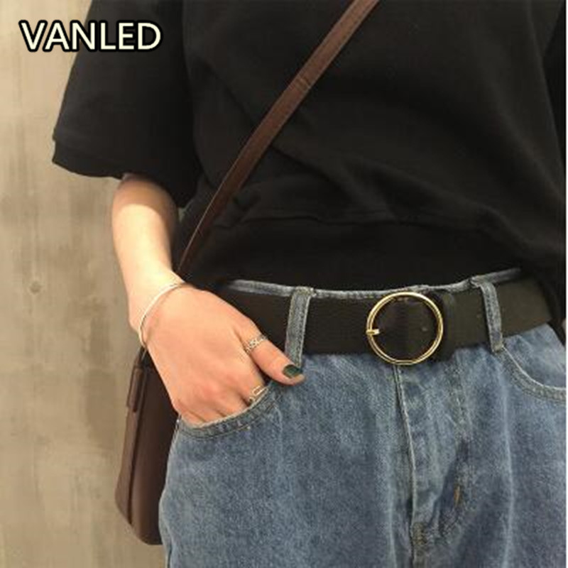 New Harajuku Style Circle Buckle Metal Pu Wide   Belt   Women's   Belts   Fashion Accessary