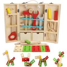 Kids Baby Educational Pretend Play Toys Sets House Wooden Simulation Building Block Repair Tools Kits Set Toddler Learning Toy(China)