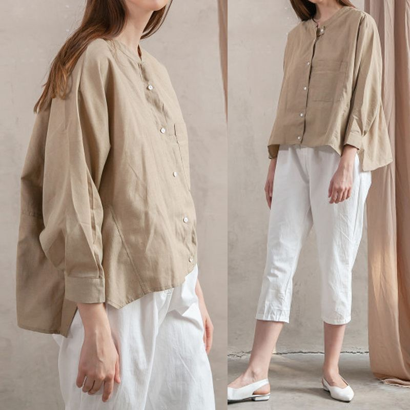 Celmia Women Vintage Linen Blouses 2019 Summer Tops Casual Batwing Sleeve Buttons Irregular Shirt Loose Solid Blusas Plus Size