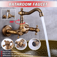 Antique Brass 360Rotation Kitchen Sink Crane Faucet Torneira Wall Mounted Double Handle Bathroom Basin Mixer Tap Cold And Hot