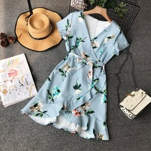 цены Summer Female Blue High Waist Mini Ruffles Dress V Neck Flower Printing Sashes Wrap Dress
