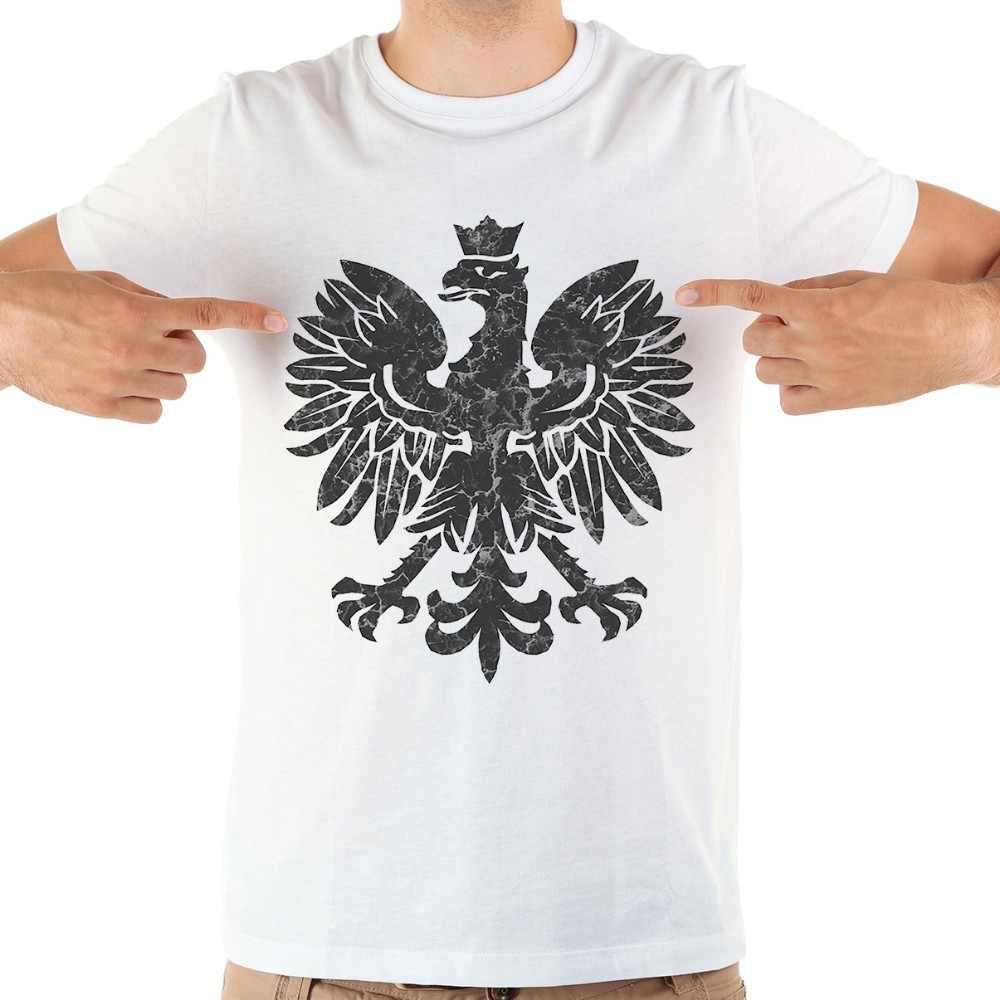 Camiseta divertida del Águila de Polonia de los hombres 2018 verano nuevo blanco casual homme cool polaco Camiseta talla grande