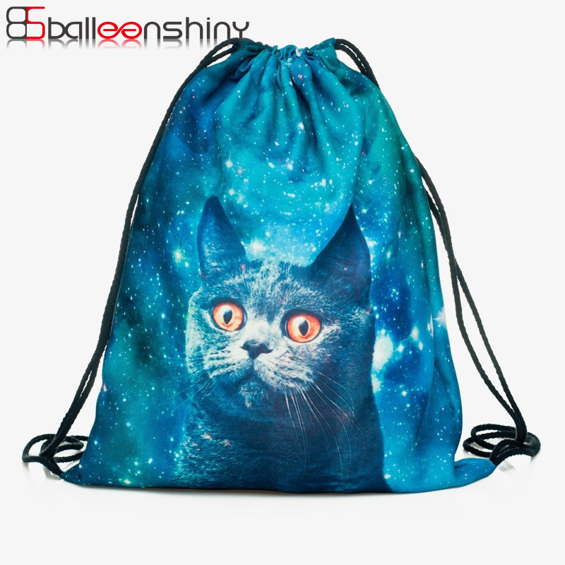 Balleenshiny Oxford 3d Digital Cats Dogs Drawstring Storage Bags Laundry Shoe Makeup Organizer Fashion Knapsack Travel Pouch