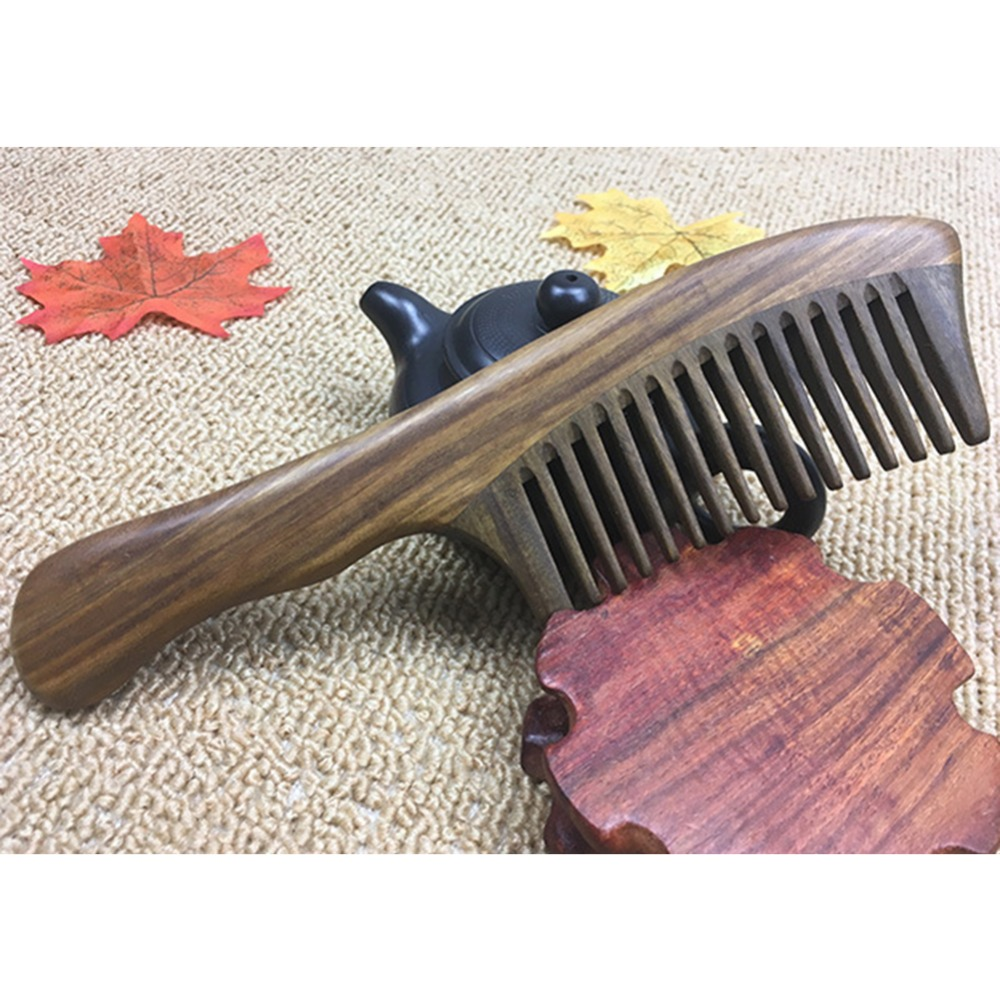 Wooden Comb Curved Shape Natural Sandalwood Comb Health Care Comb Anti-static Peach Wood Hair Comb Dropshipping