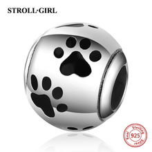 New arrival Fit Authentic Pandora Bracelet cute dog paw print Charms 925 Silver Beads diy fashion Jewelry Making for Women gift цена