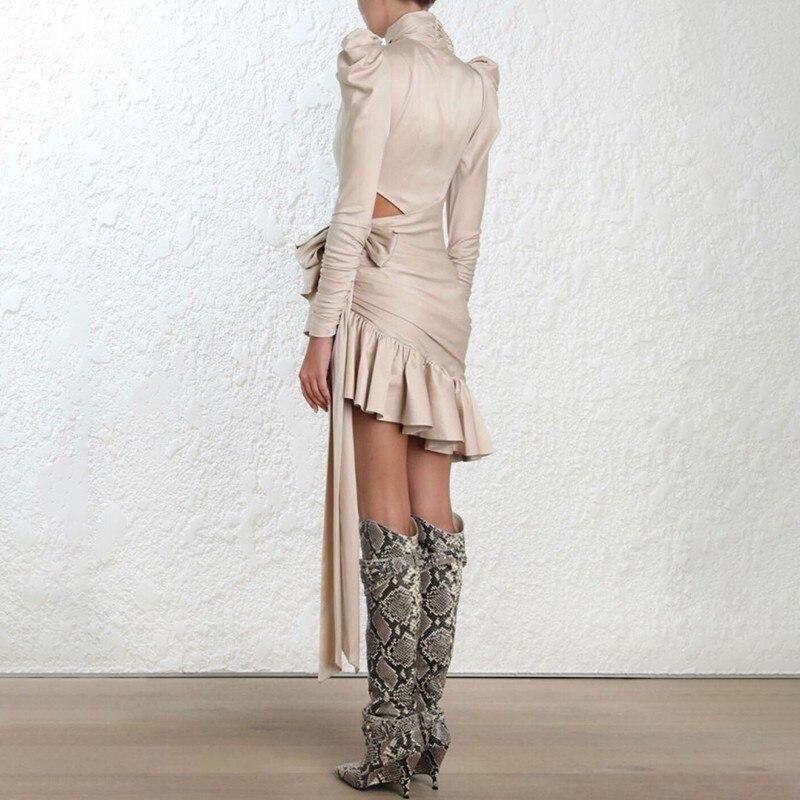 TWOTWINSTYLE drążą asymetryczna satyna sukienki dla kobiet Bowknot rękaw Puff wzburzyć wieczór sukienka na imprezę kobiet 2019 jesień w Suknie od Odzież damska na  Grupa 3
