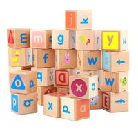 26pcs Wooden Blocks Cubes Letters 26 Alphabet Montessori Cognition Material Early Learning Toy Preschool Teaching Aid for Child