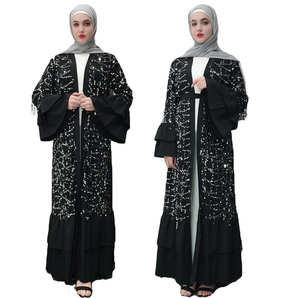 USA Ruffle Dubai Kaftan Jilbab Muslim Kimono Dress Women Islamic Abaya Cardigan