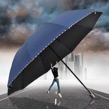 Новый 10 ребра большой зонт для 2 человек ветрозащитный для мужчин УФ зонтик дождь женщин три складной солнечный и Rainny фиолетовый розовый темно