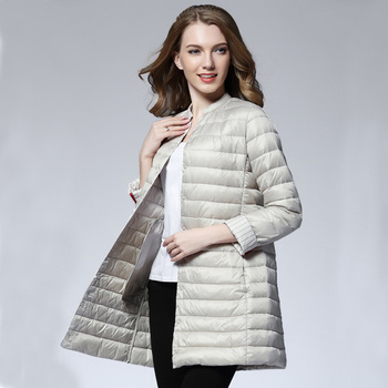 Woman Spring Padded Warm Coat Ultra Light Duck Down Jacket Long Female Overcoat Slim Solid Jackets Winter Coat Portable Parkas 1
