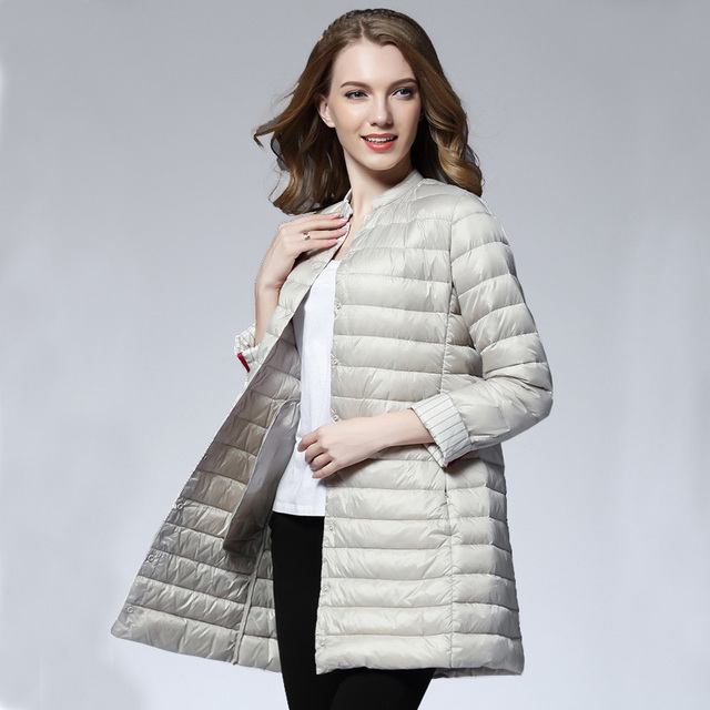 Woman Spring Padded Warm Coat Ultra Light Duck Down Jacket Long Female Overcoat Slim Solid Jackets Winter Coat Portable Parkas 1