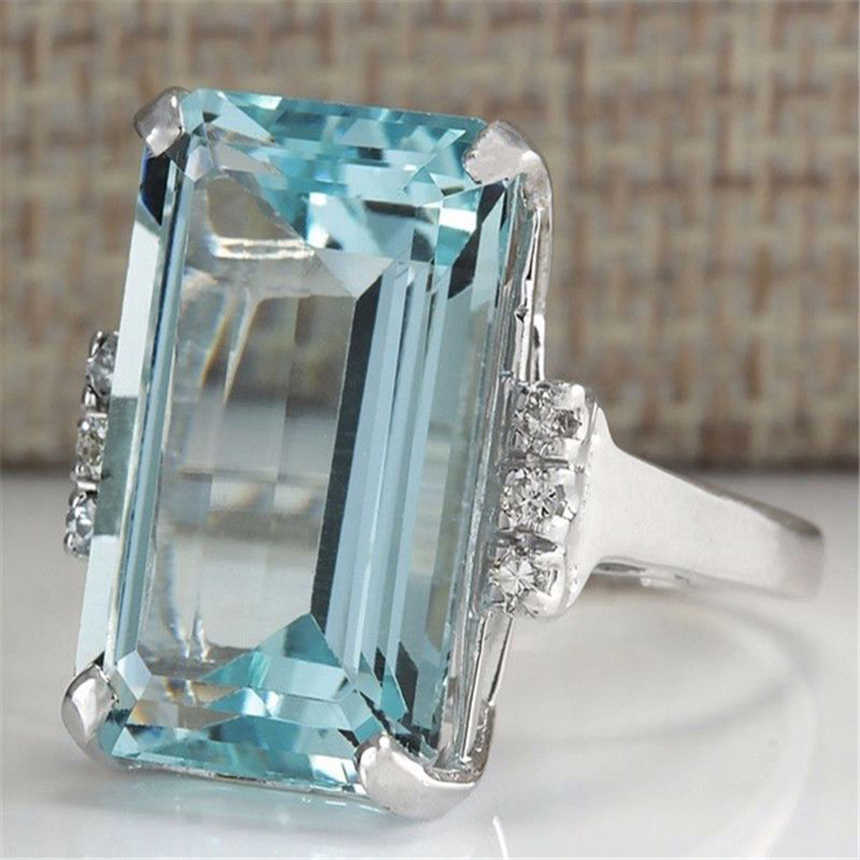 925 sliver Topaz Light Blue Close Rings for Women jade Sapphire Bizuteria Jewelry Gemsone Turquoise Gemstone S925 diamond Ring
