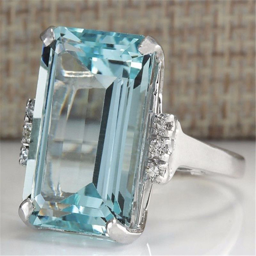 925 Sliver Color Blue Topaz Ring For Women Sapphire Bizuteria 925 Jewelry Jewelry Gemstone Turquoise Gemstone S925 Sapphire Ring
