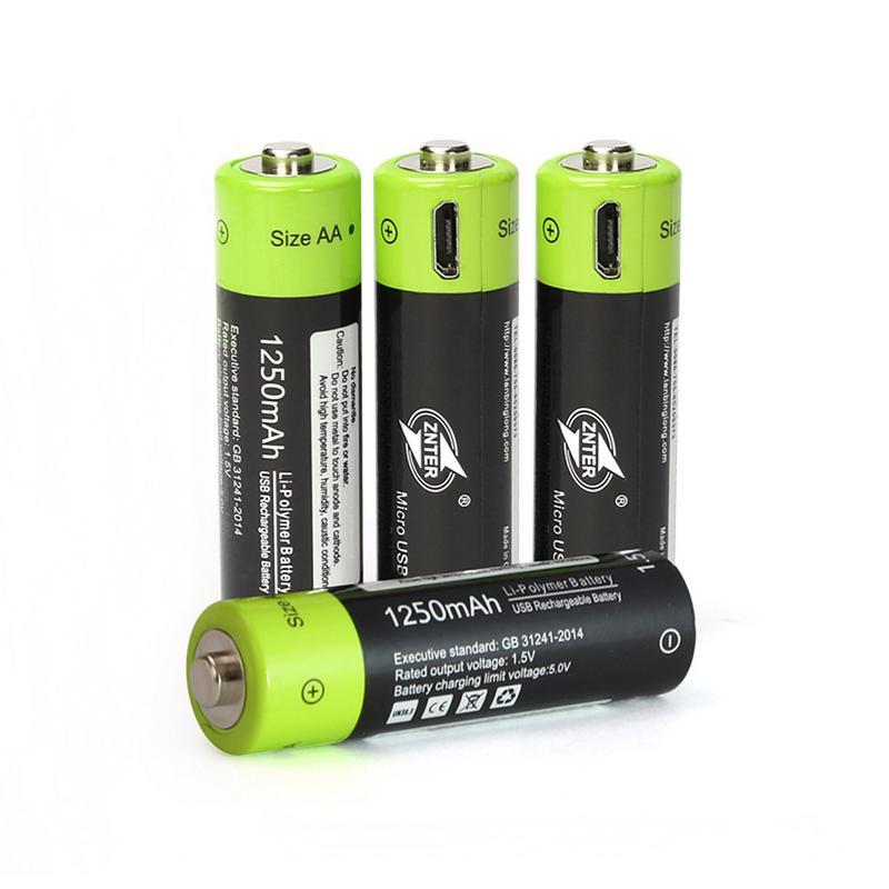 ZNTER ZNT5-1-BR 1250 mAh Перезаряжаемые Батарея 4 шт./лот АА литиевая батарея 1,5 V 2A Micro Зарядка через usb с Micro USB кабель