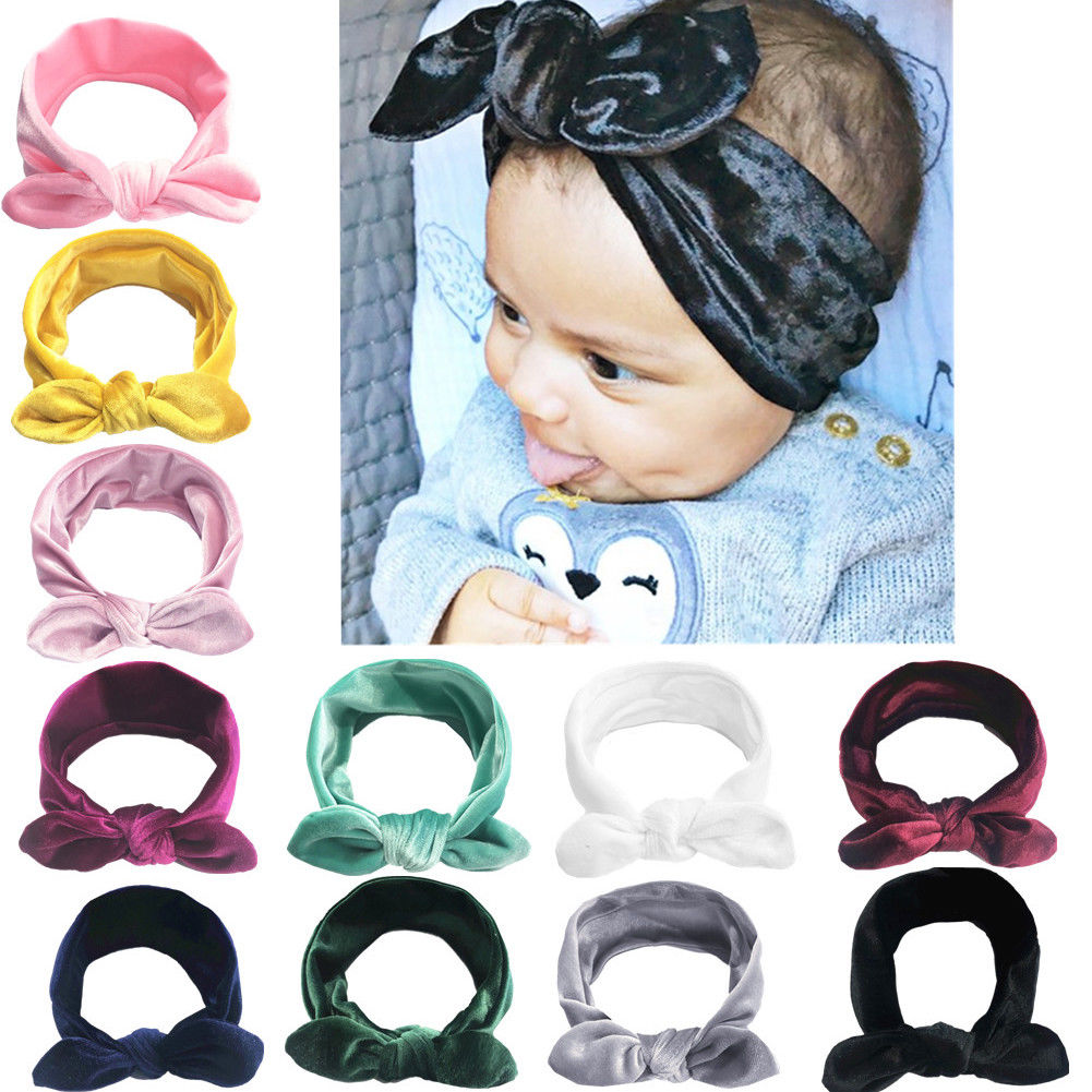 11Pcs Toddler Baby Girls Velvet Ribbon Hair Bows Headbands Big Bow Hair Bands