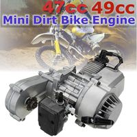 49cc 47cc Motorcycle Complete Engine 2 Stroke Pull Start W/Transmission Silver For Mini Dirt Bike