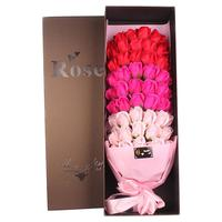 66PCS Soap Flowers Mix Gorgeous Valentine's Day Gift Lover's Artificial Romantic Rose Gold Rose Wedding Decoration Flower Pink