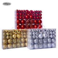 Three Colors 100pcs/Box New Christmas Ball Gift Box Set Available Lightweight Holiday Christmas Tree Ornament Decorations