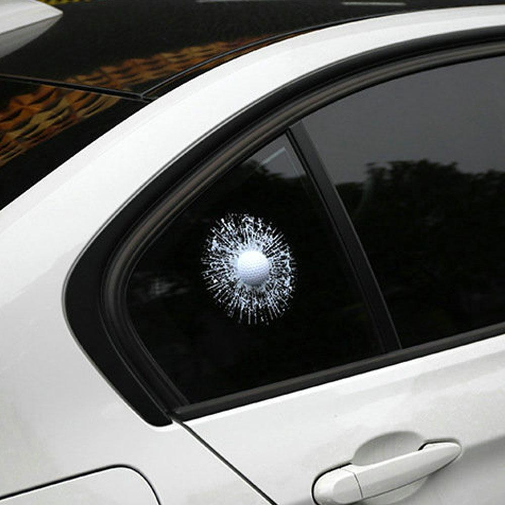 Hot Broken Glass 3D Car Sticker Car Window Ball Hits Self Adhesive Funny High Quality Car Stickers