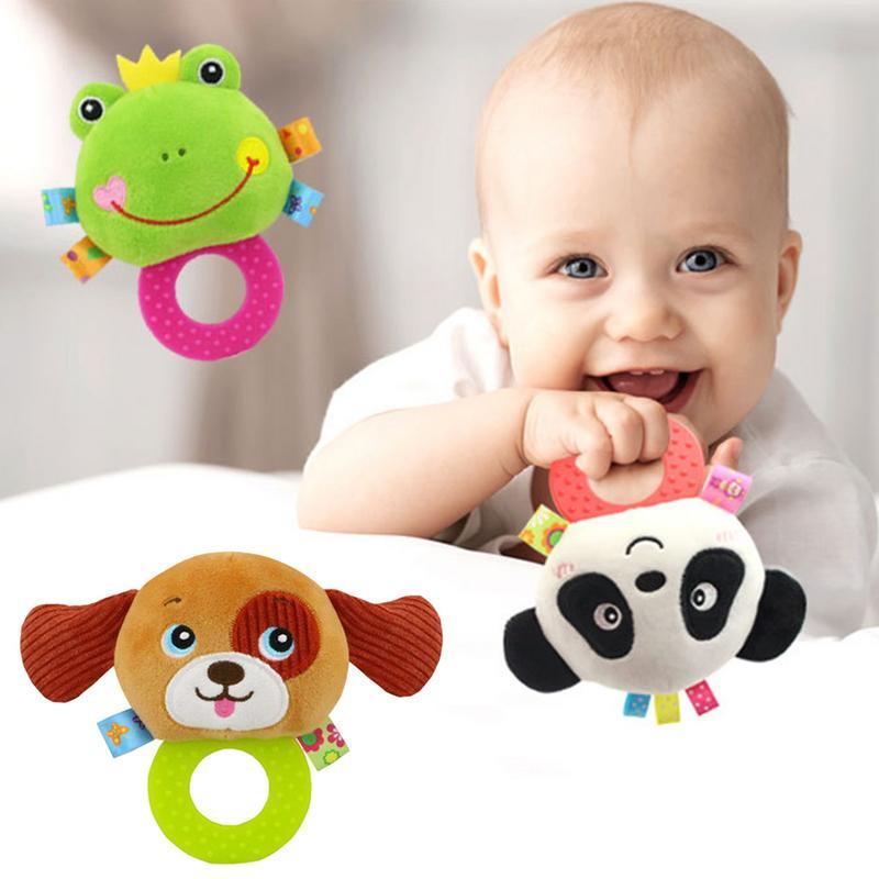 Newborn Baby Cute Playmate Plush Doll Toys Kids Cartoon Animals Hand Bells Rattles Toy Baby Teether Kids Teething Toys
