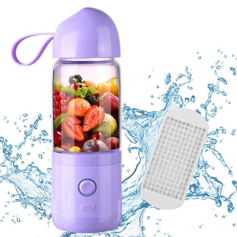 Liquidificador portátil, Usb Recarregável Portátil Liquidificador Espremedor Copo Único, Servir Misturador de Frutas, Liquidificador Multifuncional Pequena bolsa de Viagem