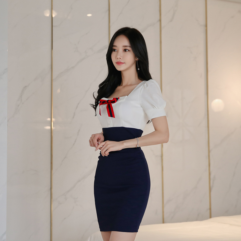 CINESSD Sexy OL Stitching Bag Hip Dress 2019 Women Summer Lantern Sleeve Square Neck Bodycon Office Dress Vestidos Plus Size in Dresses from Women 39 s Clothing