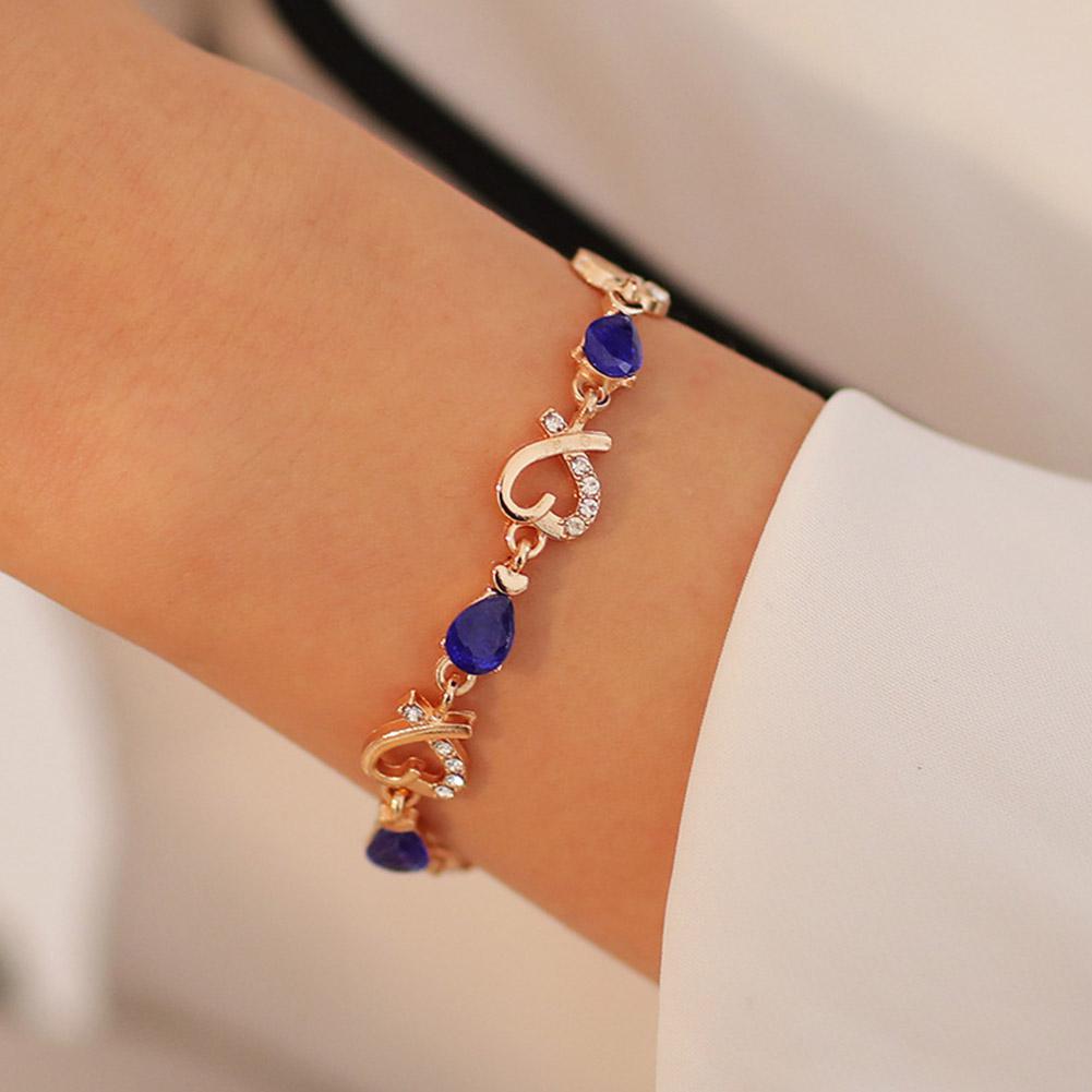 XIUFEN Women Bracelet Rhinestone Gold Color Hollow-out Flower Love Shape Bracelet Female Jewelry