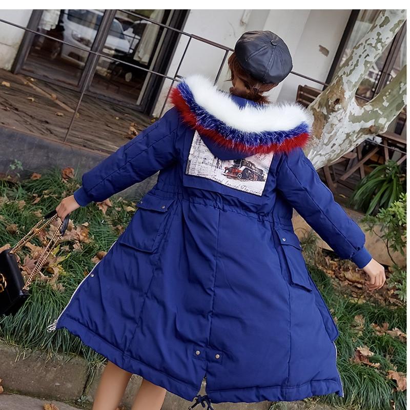 Pour Veste P677 Blue Paedded Femmes Chaud Long À Bleu Mode Manteau Épais Col Survêtement Tri couleur D'hiver Capuchon Hiver Parka Fourrure De Femme qEdwxB14w