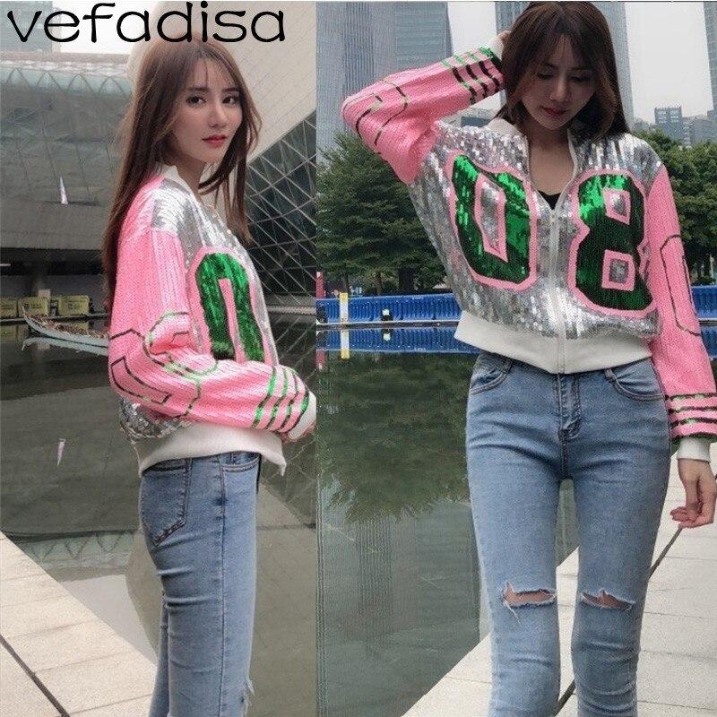 Vefadisa Full Sequin   Jacket   Women Letter Long Sleeve   Basic     Jacket   2019 Spring Fahion Short   Jacket   Coat for Girls ZLD608