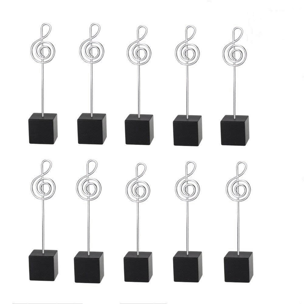 Nice 10pcs Music Shape Table Number Holder Name Place Card Holder Memo Clip Holder Standr Pictures Card Paper Menu Clip … (black) Firm In Structure
