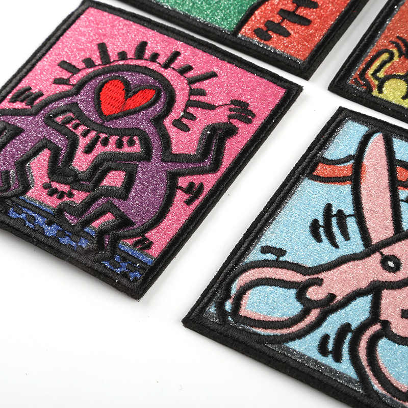 Creative Punk Style Square Embroidery Cloth Sticker for  Cartoon Iron on Patches for Clothes Small Glue Sticker