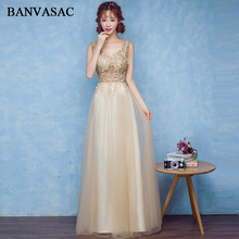 BANVASAC Sexy Crystal Deep V Neck Lace Appliques A Line Long Evening Dresses Party Sequined Illusion Backless Prom Gowns