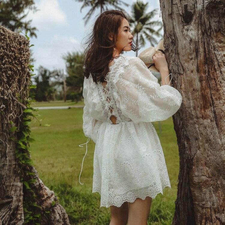 Bandage étoile vraie soie mousseline de soie broderie dentelle en vacances Sexy décontracté robe élégante femmes plage robes à la mode robe d'été