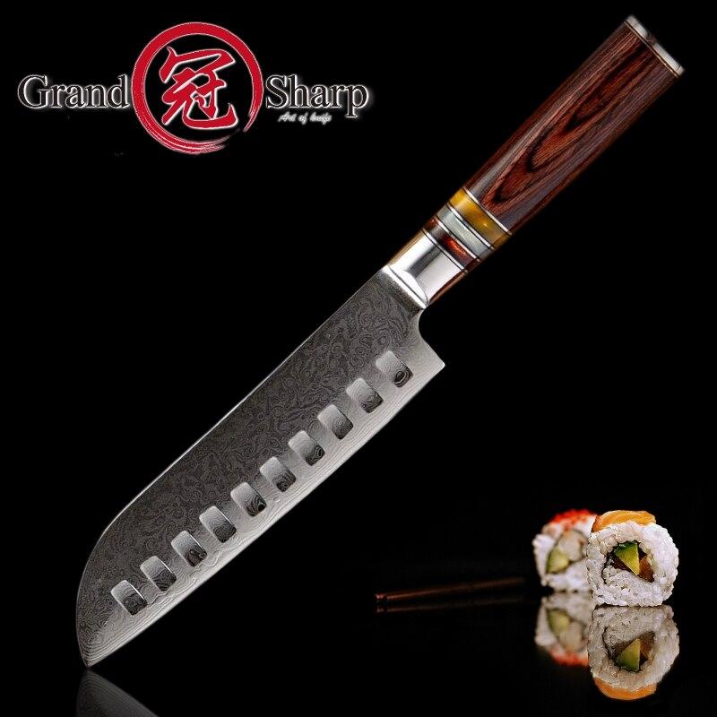 Couteau de cuisine damas couteaux Santoku japonais damas vg10 acier 67 couches couteaux de cuisine professionnels outils de cuisine du Chef