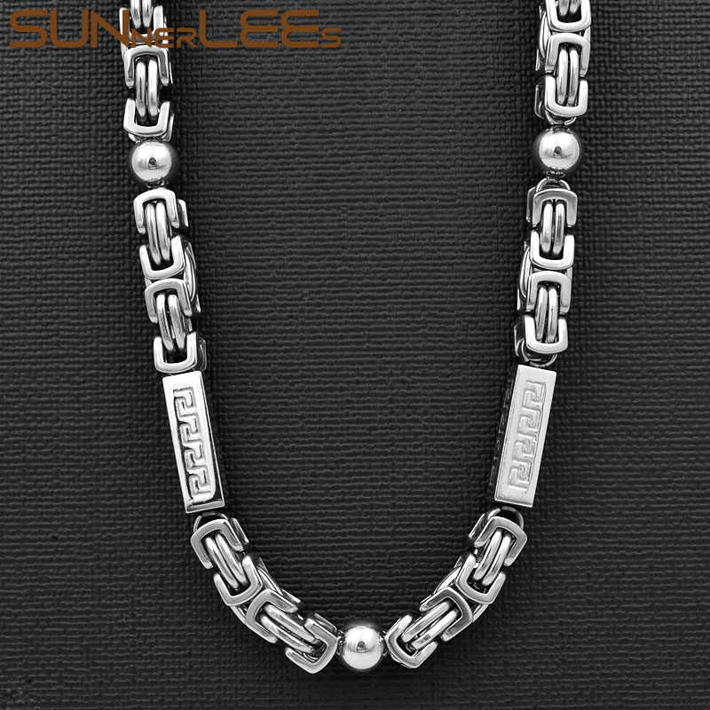 SUNNERLEES 316L Stainless Steel Necklace 7mm Geometric Byzantine Link Chain Silver Gold Black Men Women Fashion Jewelry SC62 N