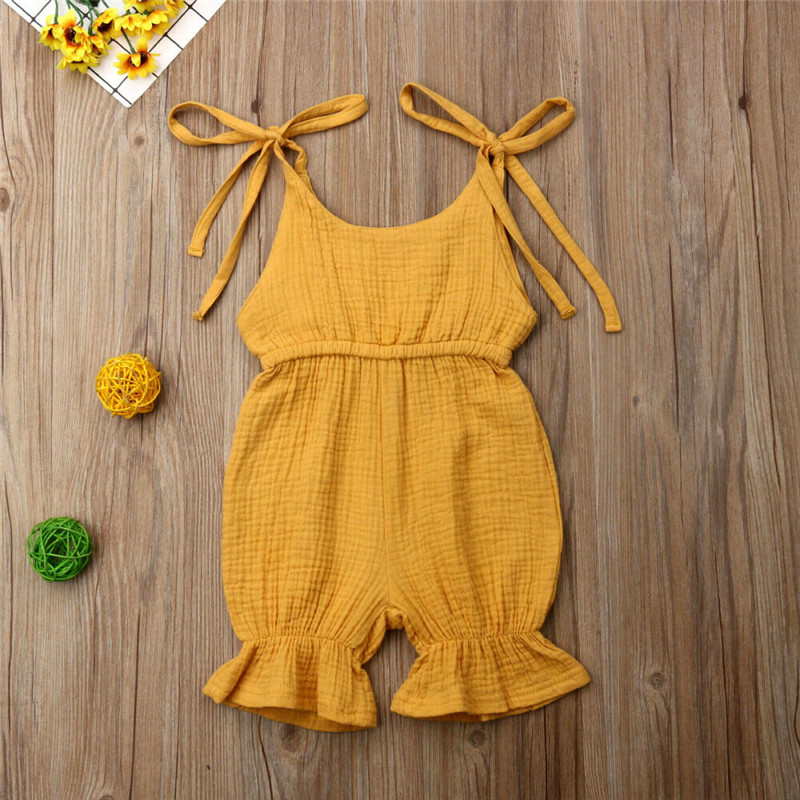Summer Casual Newborn Clothes Kids Baby Girl Solid   Romper   Sleeveless Lace-cp Strap Playsuits Girl Knee-Length Pants   Romper   0-4Y
