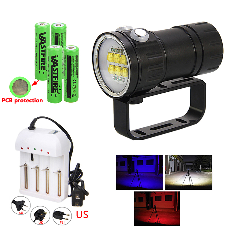 300W 14 LED 28800 Lumen underwater photography diving Flashlight Torch White Red Blue multifunction diving fill light flashlight300W 14 LED 28800 Lumen underwater photography diving Flashlight Torch White Red Blue multifunction diving fill light flashlight