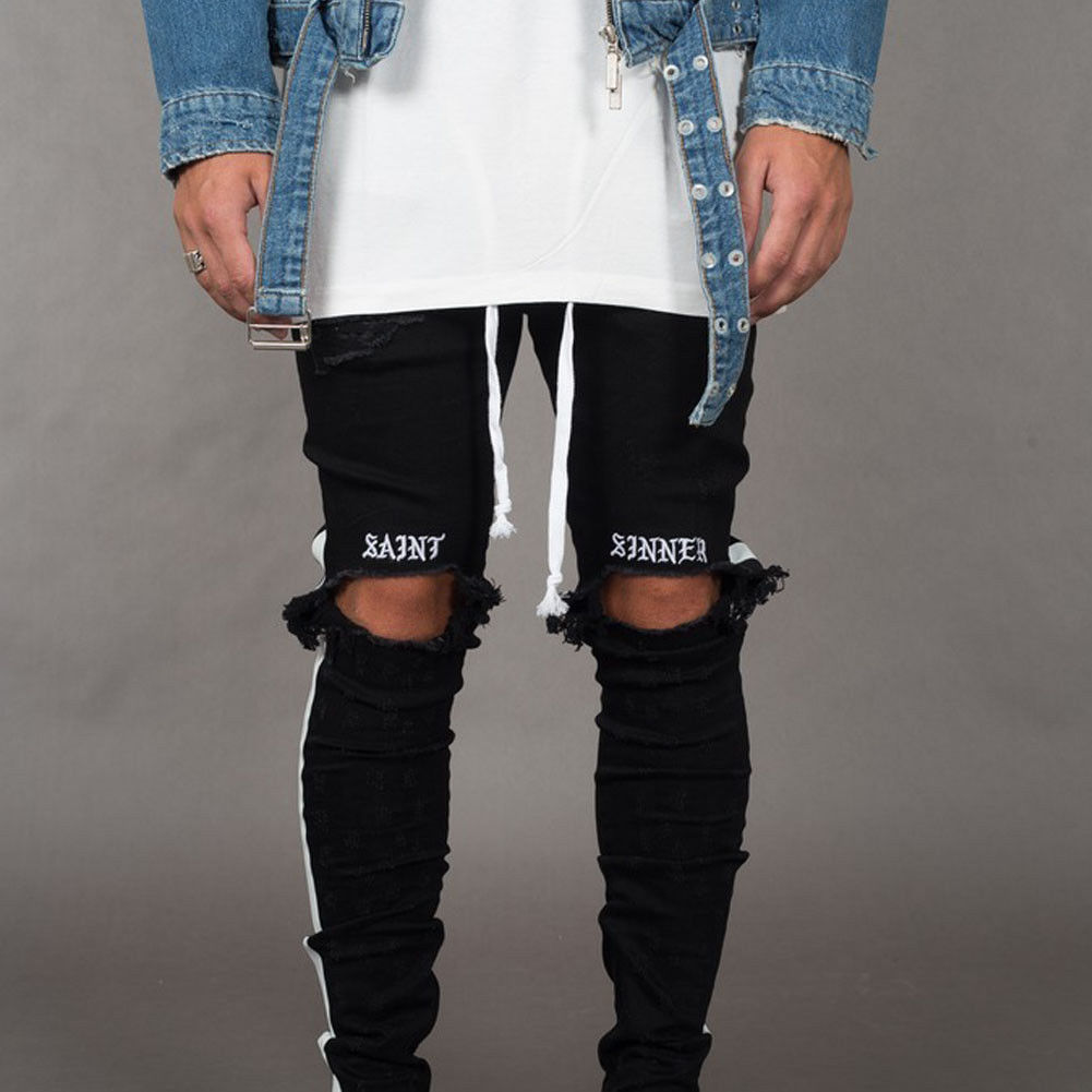 Trendy Men's Ripped   Jeans   Knee Holes Skinny Slim Fit Denim Pants Destroyed Frayed Trousers Fashion Design Side Stripe Black   Jean