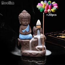 20Pcs Incense Cones + 1Pc Burner The Little Monk Small Buddha Censer Ceramic Waterfall Backflow Incense Burner Holder Home Decor(China)