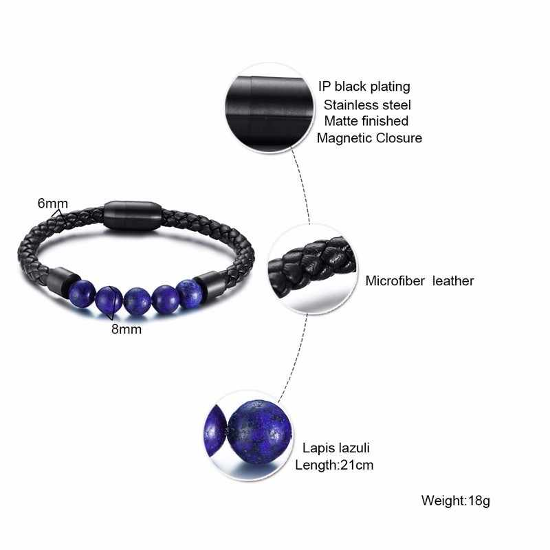 Vnox Casual Natural Beads Bracelets for Men Women Genuine Leather Bangle with Stainless Steel Magnet Clasp