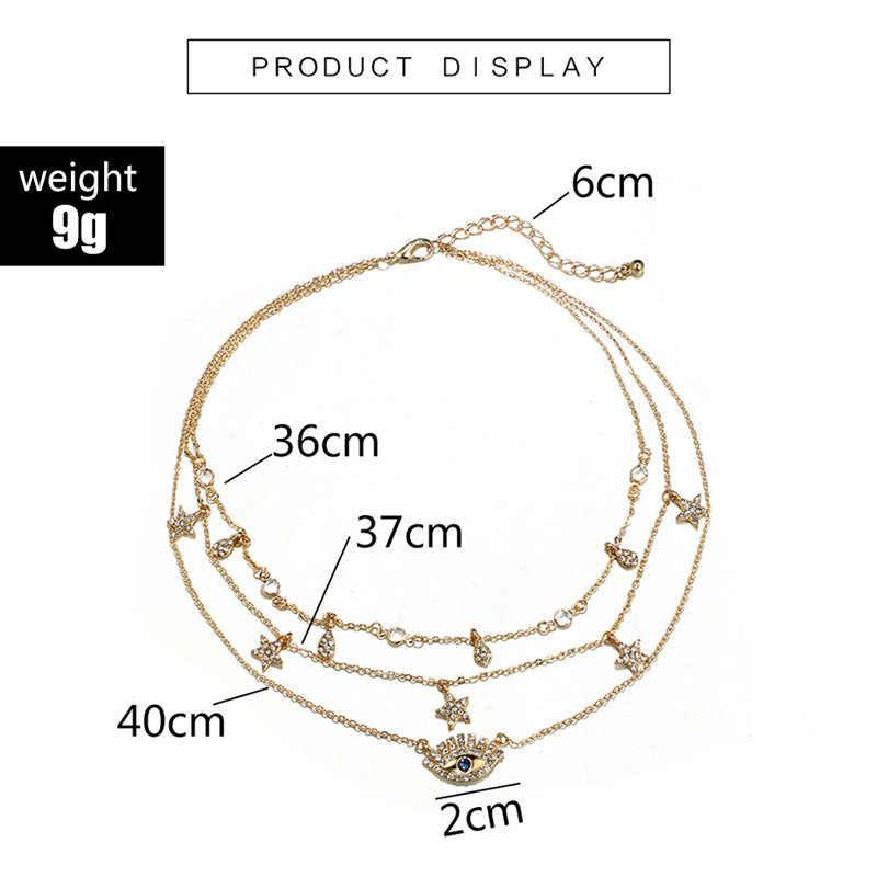 Colliers de maman multicouches en or à la mode, pendentif Boho Crystal Eye Star avec goutte d'eau, colliers pour femmes 2019, bijoux ras du cou
