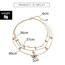 Trendy Gold Multilayer Mom Crystal Eye Necklaces