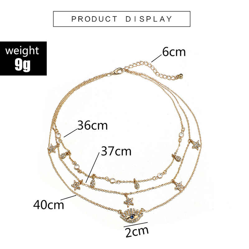 Trendy Gold Multilayer Mom Necklaces Boho Crystal Eye Star Water Drop Pendant Africa Necklaces for Women 2019 Choker Jewelry