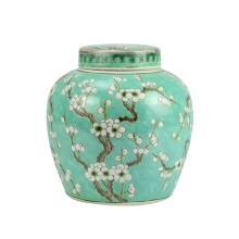 Elegant Ceramic Jar Van Gogh Almond Flower Pattern Lime Green Urn With Flat Lid