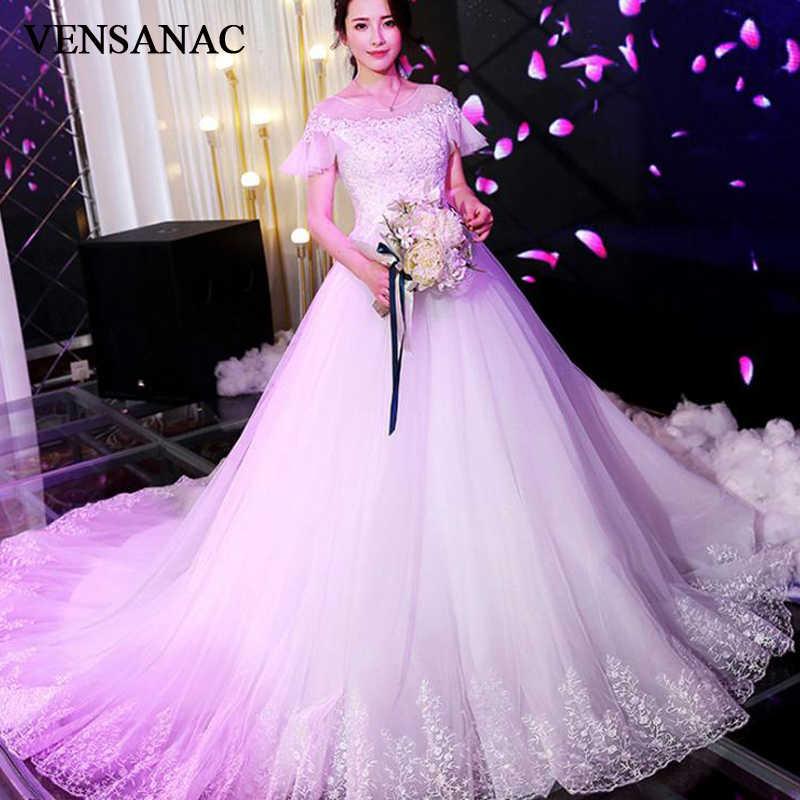 VENSANAC אשליה O צוואר 2018 כדור שמלת תחרת אפליקציות חתונת שמלות התלקחות קצר שרוול משפט רכבת כלה שמלה