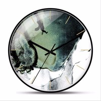 New 12/14 Inch Simple Fashion Big Wall Clock Modern Design Mute Scan Round Metal Wall Clock Large Size For Home Decoration