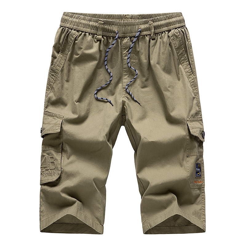 Casual Shorts Trouser Breeches Capri Bermuda Khaki Long Three-Quarter Cotton Mens Pocket