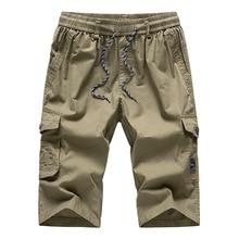 Mens Long Khaki Cargo Shorts Breeches Three Quarter Trouser