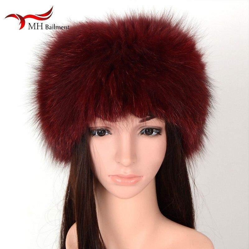 Femmes réel fourrure de renard tricot tête chaud élastique air chapeau dames en cuir pull en plein air hiver cou designer luxe hijab écharpe châle