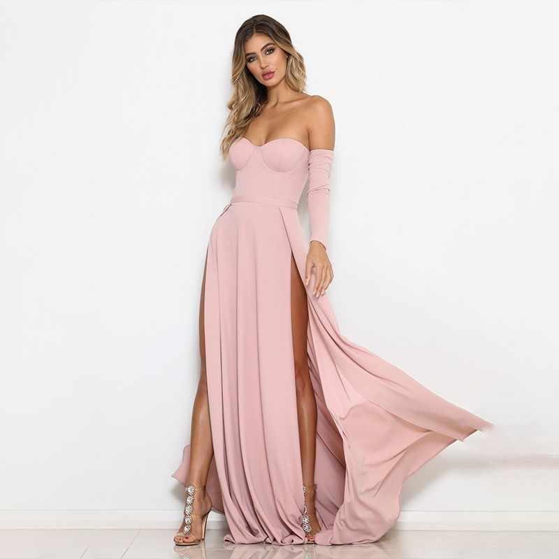 2019 Nueva Moda Sexy Vestido De Noche Sólido Elegante Vestidos De Fiesta De Noche De Hombro Alto Corte Ajustado Maxi Vestido De Noche De Graduación